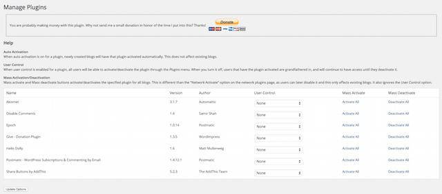 Multisite Plugins List