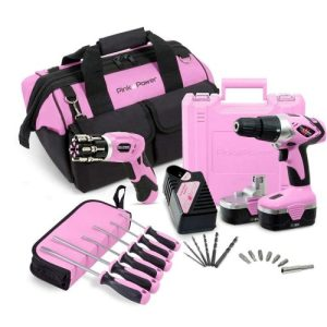 Pink Tool Set with Drill