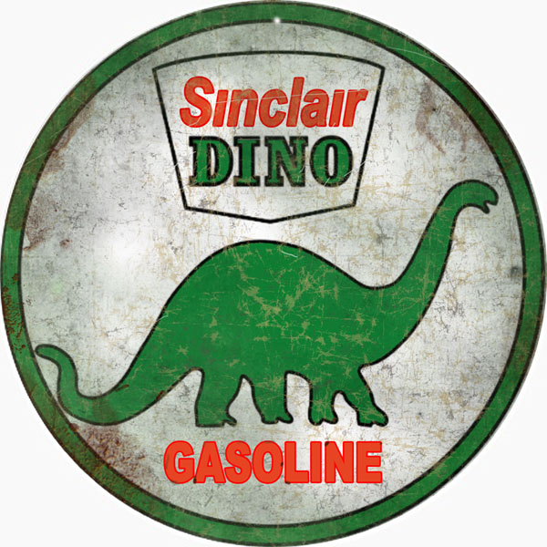 Sinclair Dino Gasoline Sign 14 Round Reproduction