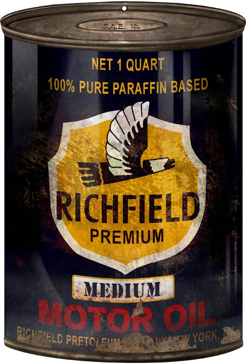 Reproduction Richfield Motor Oil Can Cutout Sign 7 1 4 10