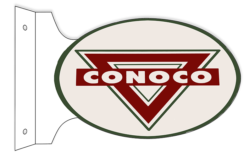 Conoco Motor Oil Double Sided Flange Sign 12 18 Oval