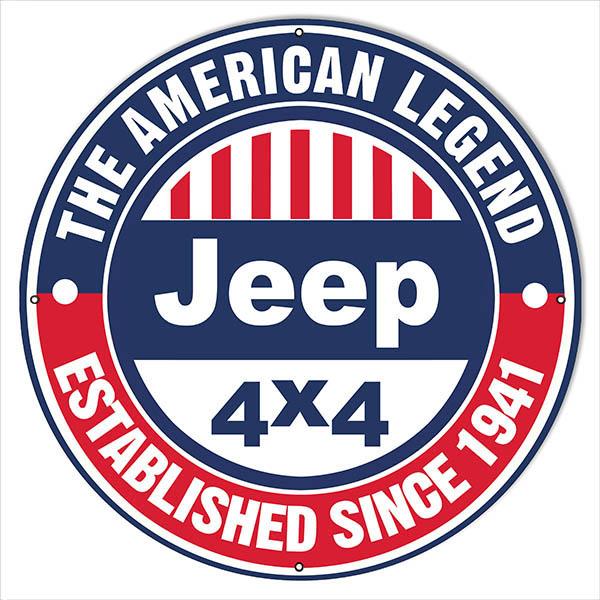 Large 30 215 30 Round American Legend 1941 Jeep Sign Garage