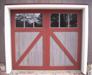 Wood Door - Red and White Barn - Cropped