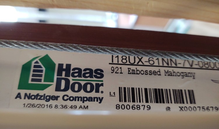 Image of manufacturer's label on garage door