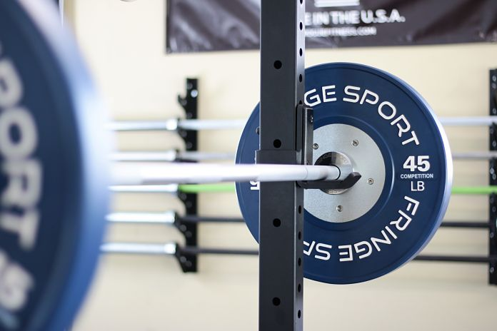 Fringe Sport Competition Bumper Plate on Bar Garage Gym Lab
