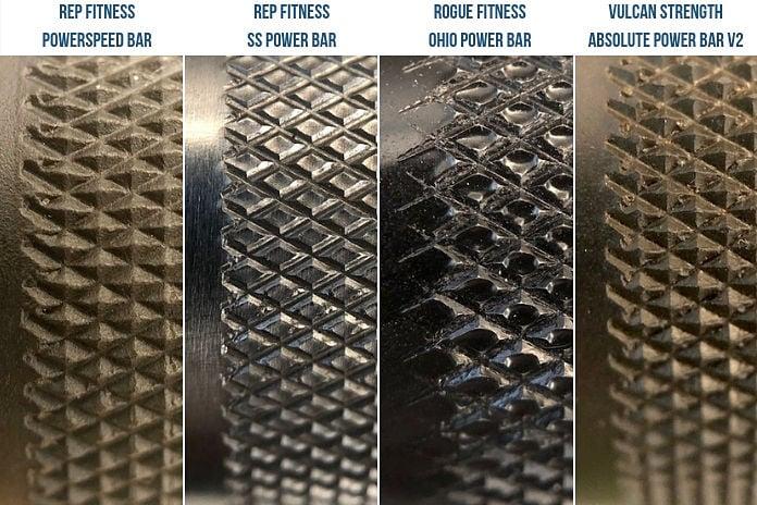 Rep Fitness Powerspeed bar Knurl Comparison Garage Gym Lab