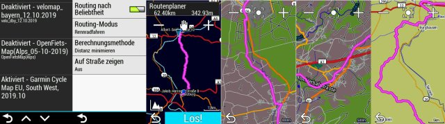 Garmin Cycle Map: Testroute am Edge Explore Navi