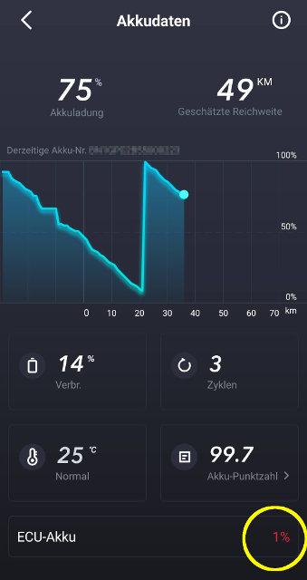 Screenshot NIU App: ECU Akku Ladestand bleibt bei 1%