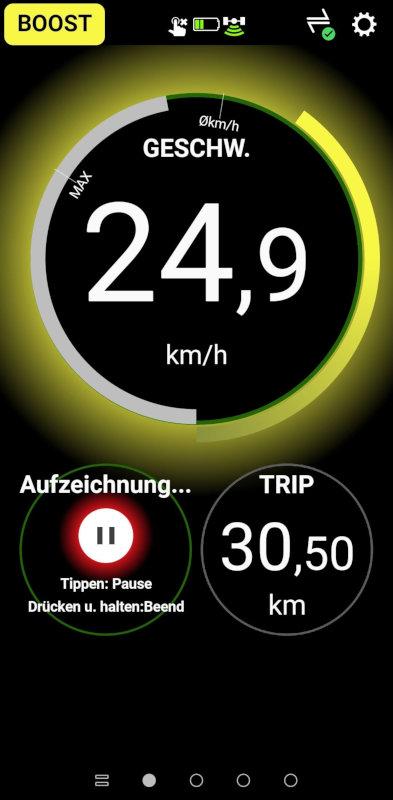 Screenshot E-Tube Ride App, Unterstützungswidget