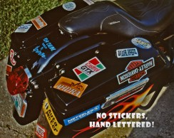 Frank likes fast bikes and the race car look. He doesn't like stickes! Those were ALL hand lettered on his bike. See more of this bike in the Sept./ Oct. 2011 issue of Motorcycle Bagger.
