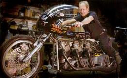T.C. Christenson, world recored holder on the Hogslayer 3. Photo form Basem Wasef's book : Legendary Motorcycles.