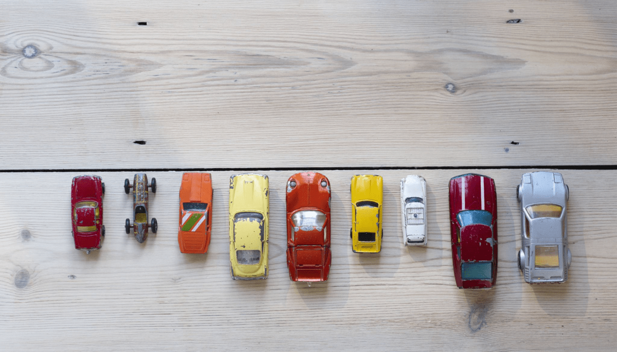 Model cars lined up