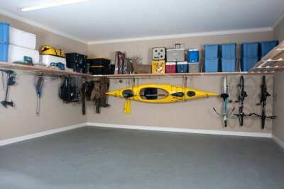 garage organization kayak and bikes