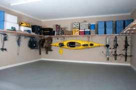 garage organization kayak and bikes