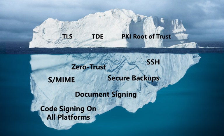 A graphic showing an iceberg to represent how most organizations aren't using their hardware security modules to the fullest potential.