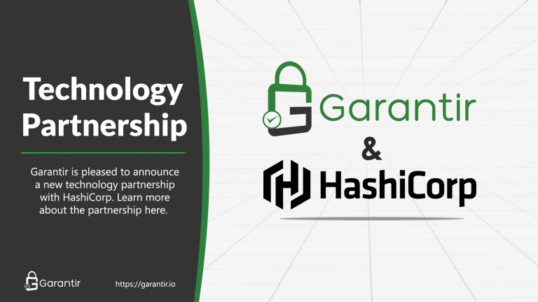 A banner image for a blog post announcing a partnership between Garantir and HashiCorp