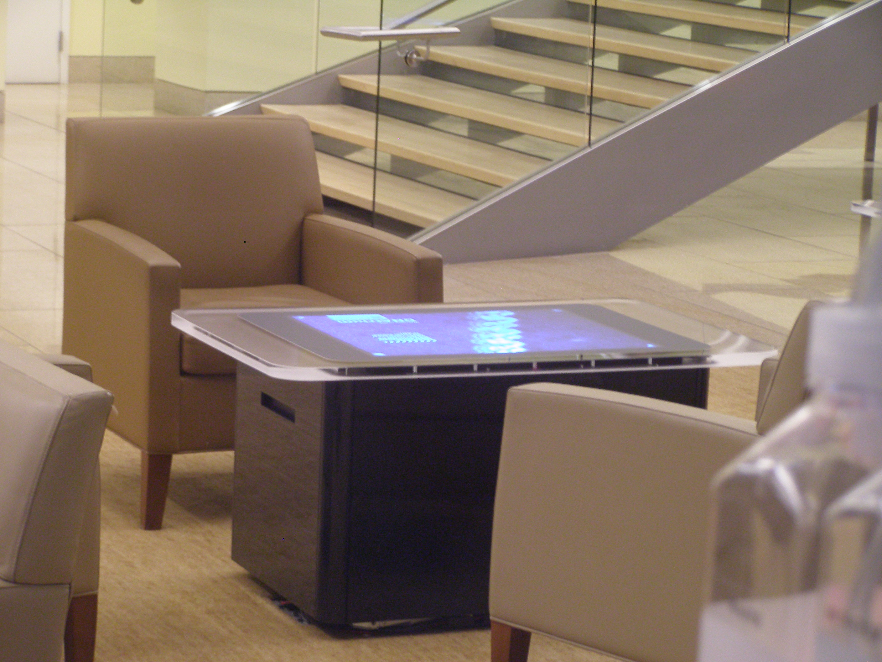 Even the tables in the lobby have monitors in them!