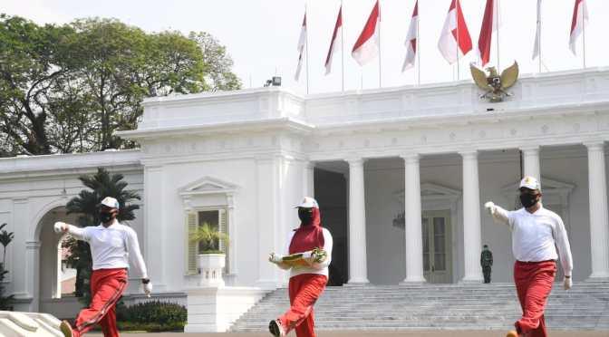 Setpres Helat Latihan Penaikan Bendera Upacara HUT ke-75 Kemerdekaan RI