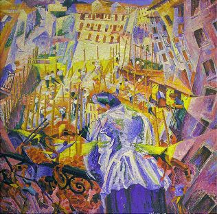 Umberto_Boccioni(1882-1916). The Street Enters the House 1911작. Public Domain.