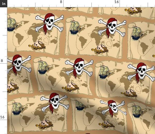 Pirate Treasure Map Spoonflower