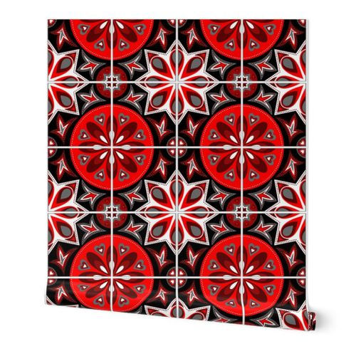 wallpaper spanish tiles in black white and red