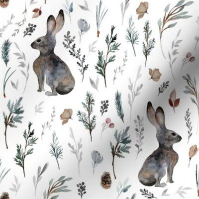 """8"""" Woodland Bunnies // White"""