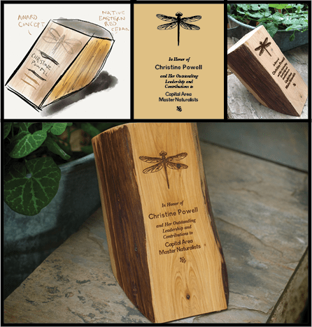 Laser-etched custom award. (I cut and crafted the wood stock, as well.)
