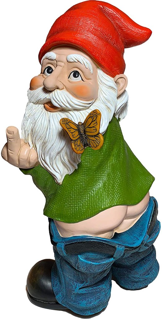 A blue jeans wearing garden gnome with a pointy red hat dropping his drawers and flipping the bird over his shoulder.
