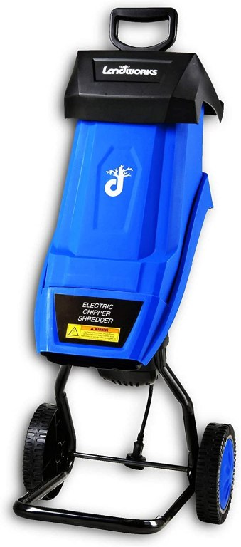 A shiny blue electric wood chipper with a black handle up top and black support stand and wheels on bottom.