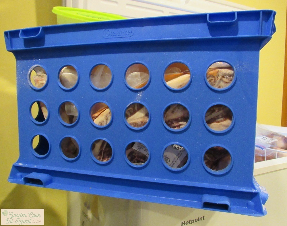 Plastic milk crate freezer storage