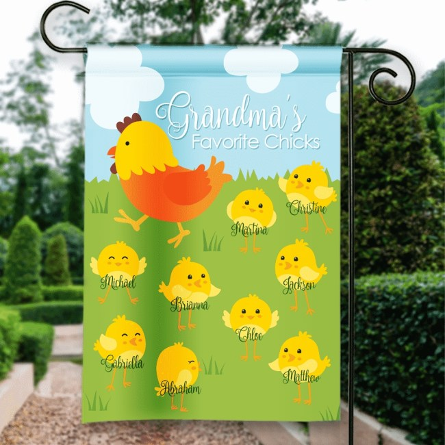 Grandma's Favorite Spring Chicks Personalized Easter Holiday Garden intended for Garden House School Easter Holidays