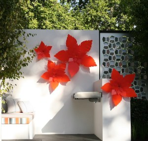 Orange flowers by Lump Sculpture Studio in Cycas Landscape Design MIFGS 2013