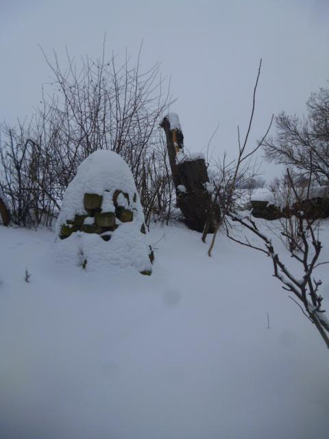 Our stone pyramid with the willow stump in the background