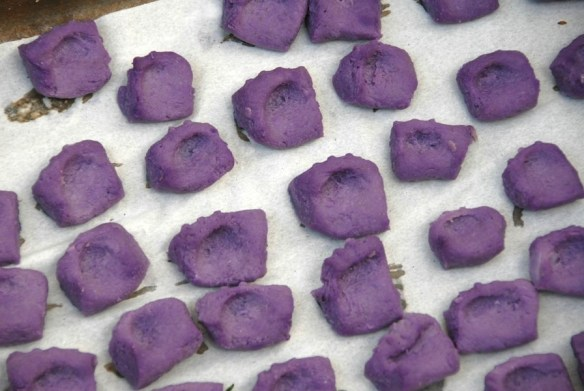 Uncooked Purple Congo gnocchi after drying