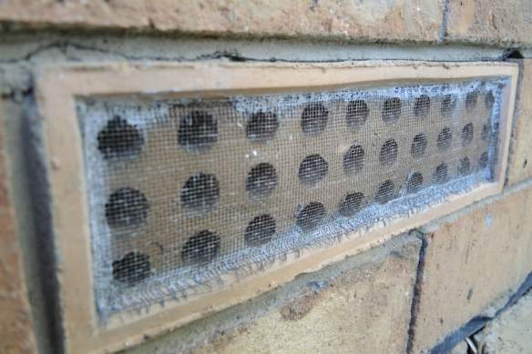 All openings in the brickwork are covered with wire mesh