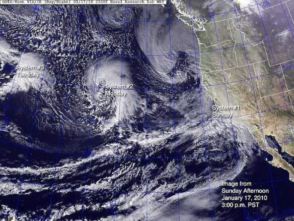 A series of El Niño triggered storms hit California in early 2010
