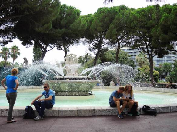 Traditional fountain at the western end. Promenade du Paillon, Nice
