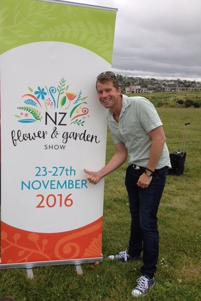 Leon Kluge at the launch of the New Zealand Flower & Garden Show