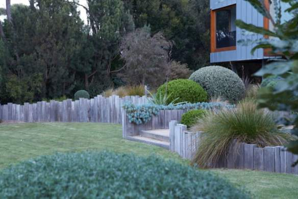 This sculptured garden at Flinders is offset from the house, the main views are from the first storey, designed by Fiona Brockhoff. (Virginia Cummins)