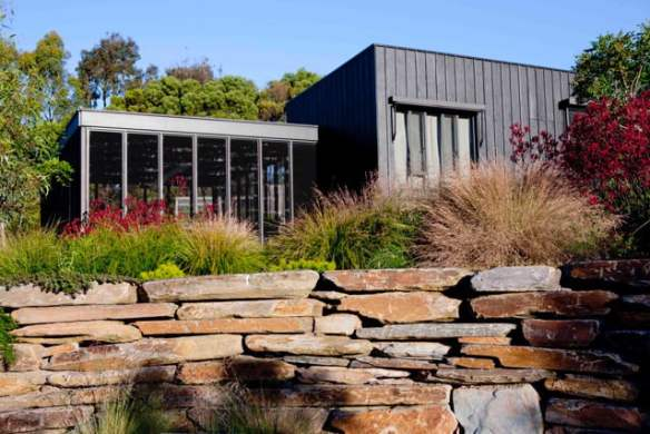 A lake side garden at Main Ridge that enclosed and encompassed the house, designed by Fiona Brockhoff. (Virginia Cummins)