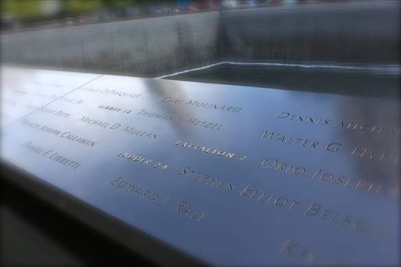 World Trade Center memorial New York - names around the pool's edge
