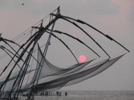 Chinese fishing nets with bamboo and teak poles at Fort Cochin on the Malabar Coast, Kerala.