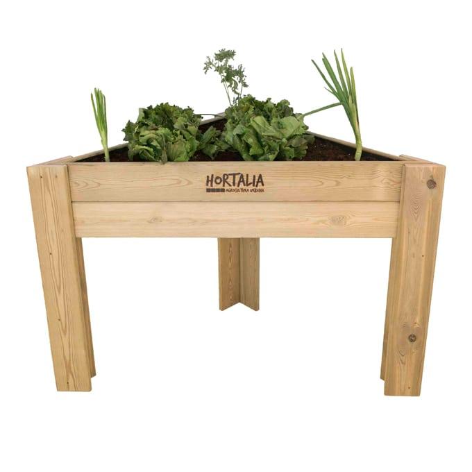 Mesa de cultivo madera esquina 120 x 85 x 40 cm gardeneas for Mesas de cultivo urbano