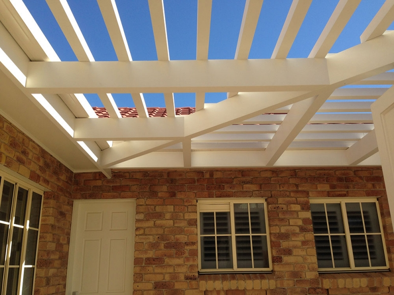 Attached Pine Pergola With Wainscotting Posts Thornlands