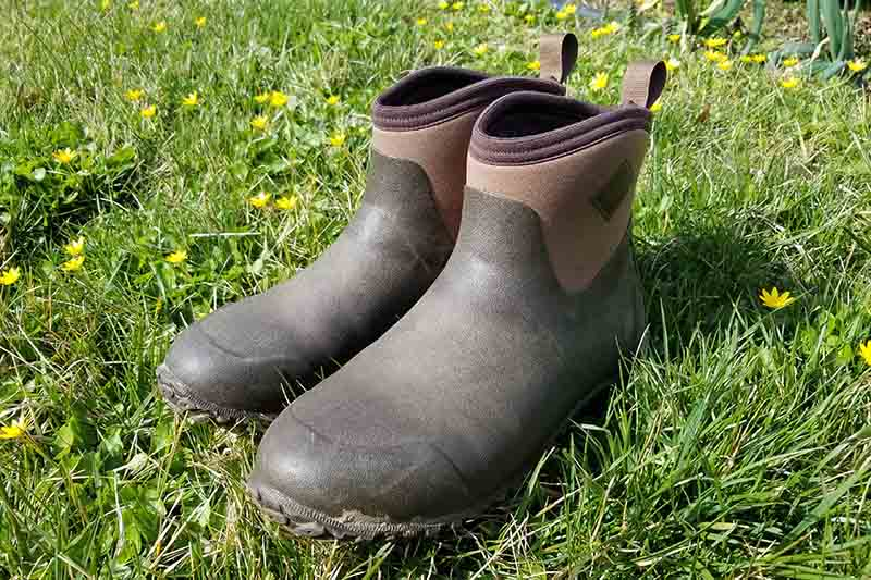 A close up of a pair of the Original Muck Boot Company's Muckster II Ankles in brown, set on a green lawn with small yellow flowers and pictured in bright sunshine.