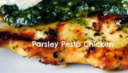 parsley pesto chicken, healthy chicken
