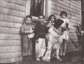 Betty the St. Bernard with (L-R) Cousins Bill Norris, Doc Hickman, Lou Anne Hickman and Eilene Norris.
