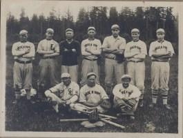 Garden Home baseball team in the Sunset Basebase League. Uncle Duke Scherner (right front), Uncle Carl Rehberg (left rear) and Albert Erickson (center).