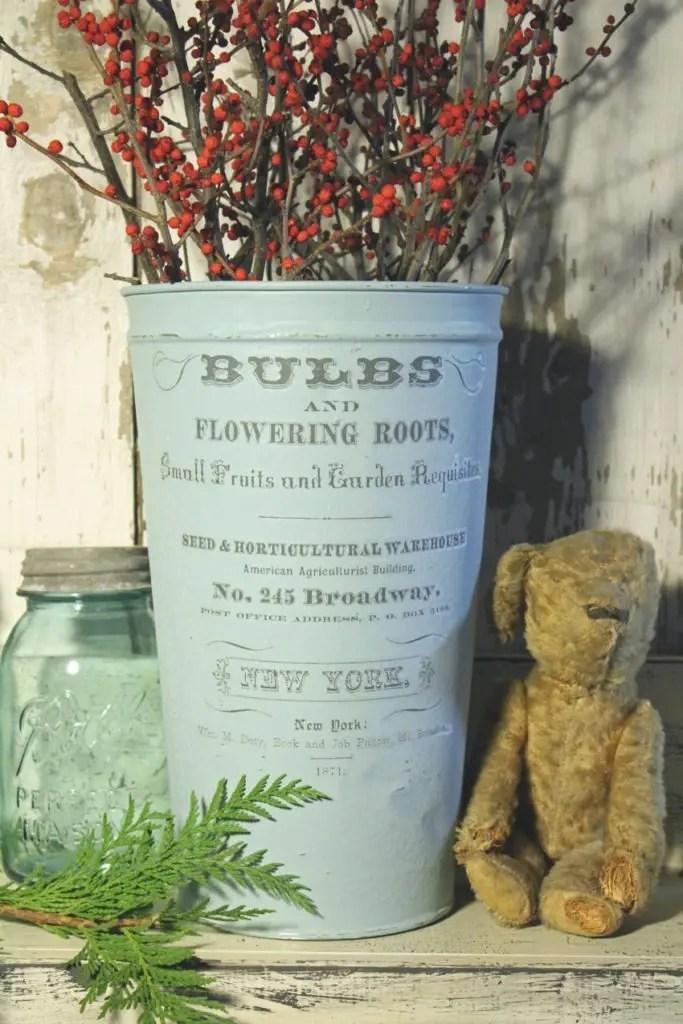 Antique French Flower Bucket