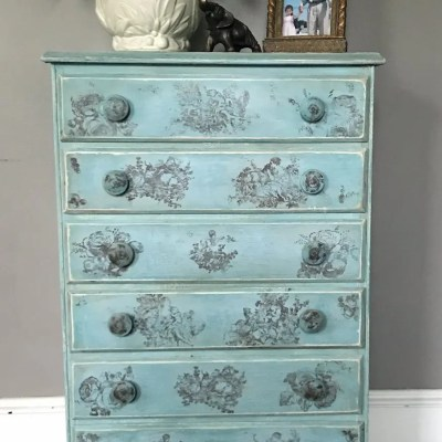 Six Drawer Toile IOD Stamped Dresser